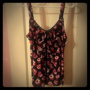 Black and Pink Floral Ruffled Tank